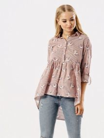 RED/WHITE STRIPE BIRD PRINT COTTON SHIRT TOP SIZES 8, 10, 12, 14